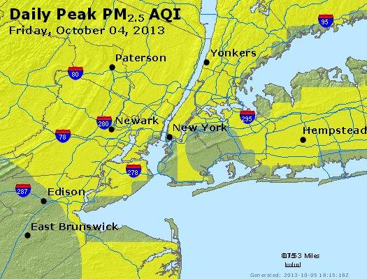 Peak Particles PM<sub>2.5</sub> (24-hour) - http://files.airnowtech.org/airnow/2013/20131004/peak_pm25_newyork_ny.jpg