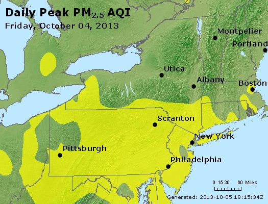 Peak Particles PM<sub>2.5</sub> (24-hour) - http://files.airnowtech.org/airnow/2013/20131004/peak_pm25_ny_pa_nj.jpg