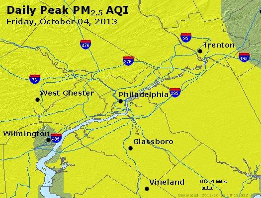 Peak Particles PM<sub>2.5</sub> (24-hour) - http://files.airnowtech.org/airnow/2013/20131004/peak_pm25_philadelphia_pa.jpg