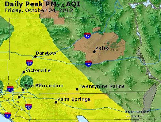 Peak Particles PM<sub>2.5</sub> (24-hour) - http://files.airnowtech.org/airnow/2013/20131004/peak_pm25_sanbernardino_ca.jpg