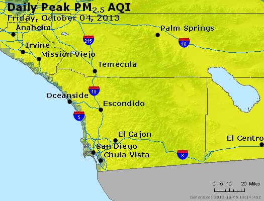 Peak Particles PM<sub>2.5</sub> (24-hour) - http://files.airnowtech.org/airnow/2013/20131004/peak_pm25_sandiego_ca.jpg