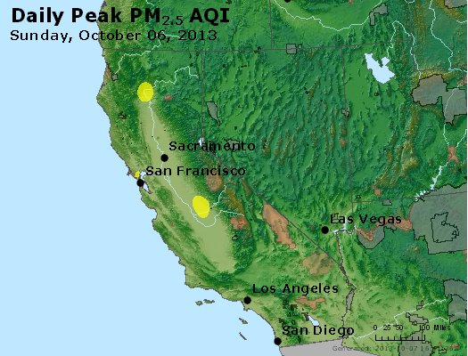 Peak Particles PM<sub>2.5</sub> (24-hour) - http://files.airnowtech.org/airnow/2013/20131006/peak_pm25_ca_nv.jpg