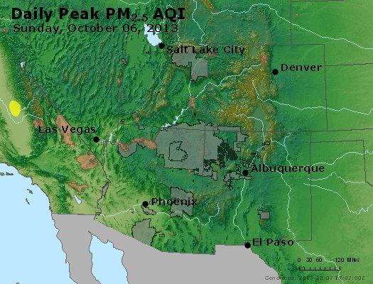 Peak Particles PM<sub>2.5</sub> (24-hour) - http://files.airnowtech.org/airnow/2013/20131006/peak_pm25_co_ut_az_nm.jpg