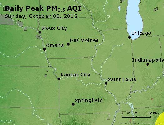 Peak Particles PM<sub>2.5</sub> (24-hour) - http://files.airnowtech.org/airnow/2013/20131006/peak_pm25_ia_il_mo.jpg