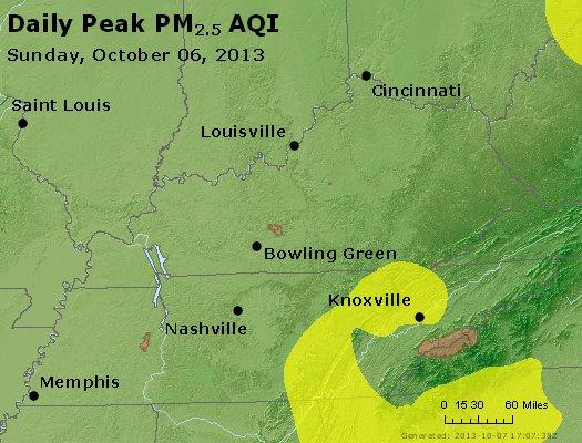 Peak Particles PM<sub>2.5</sub> (24-hour) - http://files.airnowtech.org/airnow/2013/20131006/peak_pm25_ky_tn.jpg