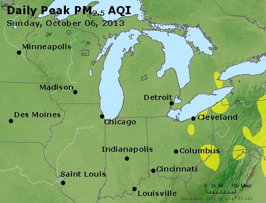 Peak Particles PM<sub>2.5</sub> (24-hour) - http://files.airnowtech.org/airnow/2013/20131006/peak_pm25_mi_in_oh.jpg