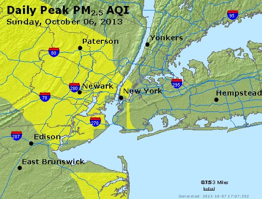 Peak Particles PM<sub>2.5</sub> (24-hour) - http://files.airnowtech.org/airnow/2013/20131006/peak_pm25_newyork_ny.jpg