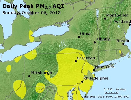 Peak Particles PM<sub>2.5</sub> (24-hour) - http://files.airnowtech.org/airnow/2013/20131006/peak_pm25_ny_pa_nj.jpg