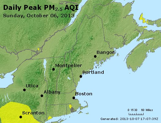 Peak Particles PM<sub>2.5</sub> (24-hour) - http://files.airnowtech.org/airnow/2013/20131006/peak_pm25_vt_nh_ma_ct_ri_me.jpg