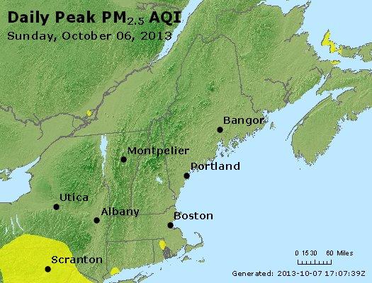 Peak Particles PM<sub>2.5</sub> (24-hour) - http://files.airnowtech.org/airnow/2013/20131006/peak_pm25_vt_nh_ma_ct_ri_me.jpg