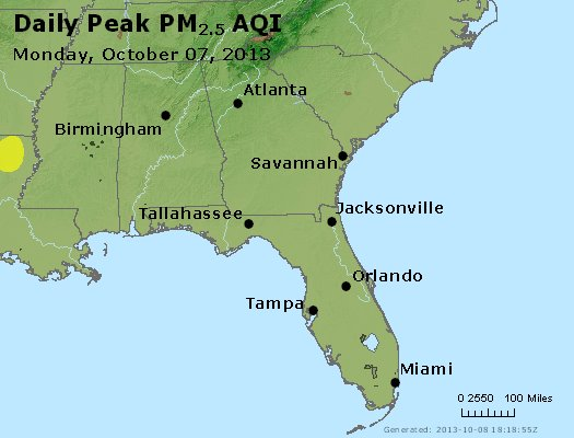 Peak Particles PM<sub>2.5</sub> (24-hour) - http://files.airnowtech.org/airnow/2013/20131007/peak_pm25_al_ga_fl.jpg