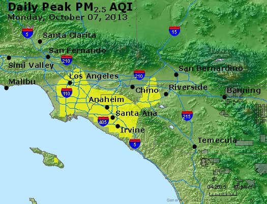 Peak Particles PM<sub>2.5</sub> (24-hour) - http://files.airnowtech.org/airnow/2013/20131007/peak_pm25_losangeles_ca.jpg