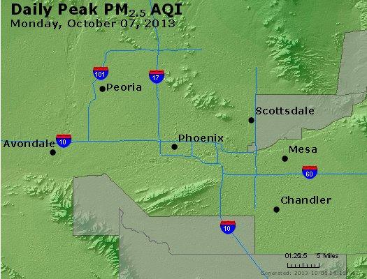 Peak Particles PM<sub>2.5</sub> (24-hour) - http://files.airnowtech.org/airnow/2013/20131007/peak_pm25_phoenix_az.jpg