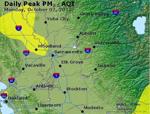 Peak Particles PM<sub>2.5</sub> (24-hour) - http://files.airnowtech.org/airnow/2013/20131007/peak_pm25_sacramento_ca.jpg