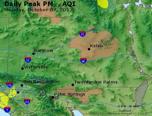 Peak Particles PM<sub>2.5</sub> (24-hour) - http://files.airnowtech.org/airnow/2013/20131007/peak_pm25_sanbernardino_ca.jpg