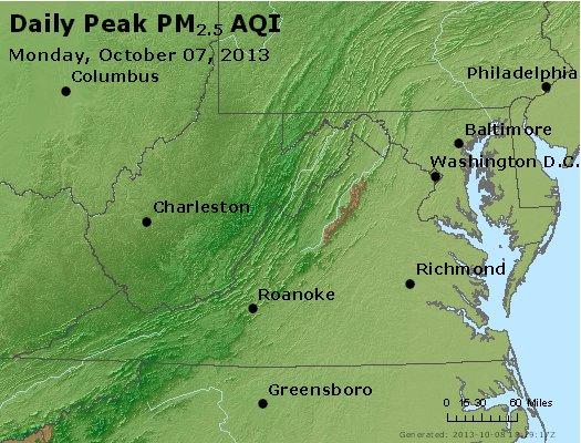 Peak Particles PM<sub>2.5</sub> (24-hour) - http://files.airnowtech.org/airnow/2013/20131007/peak_pm25_va_wv_md_de_dc.jpg