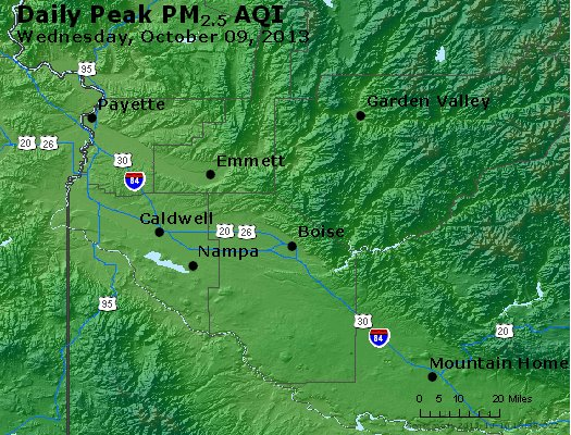 Peak Particles PM<sub>2.5</sub> (24-hour) - http://files.airnowtech.org/airnow/2013/20131009/peak_pm25_boise_id.jpg