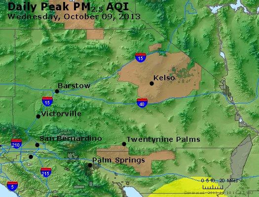Peak Particles PM<sub>2.5</sub> (24-hour) - http://files.airnowtech.org/airnow/2013/20131009/peak_pm25_sanbernardino_ca.jpg