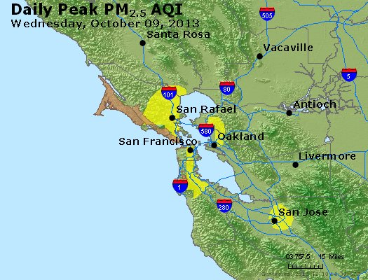 Peak Particles PM<sub>2.5</sub> (24-hour) - http://files.airnowtech.org/airnow/2013/20131009/peak_pm25_sanfrancisco_ca.jpg