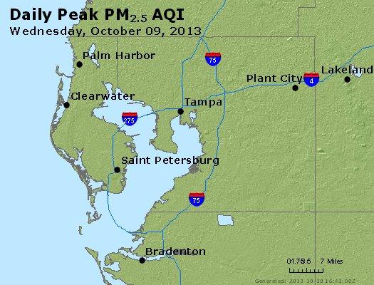 Peak Particles PM<sub>2.5</sub> (24-hour) - http://files.airnowtech.org/airnow/2013/20131009/peak_pm25_tampa_fl.jpg