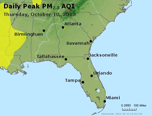 Peak Particles PM<sub>2.5</sub> (24-hour) - http://files.airnowtech.org/airnow/2013/20131010/peak_pm25_al_ga_fl.jpg