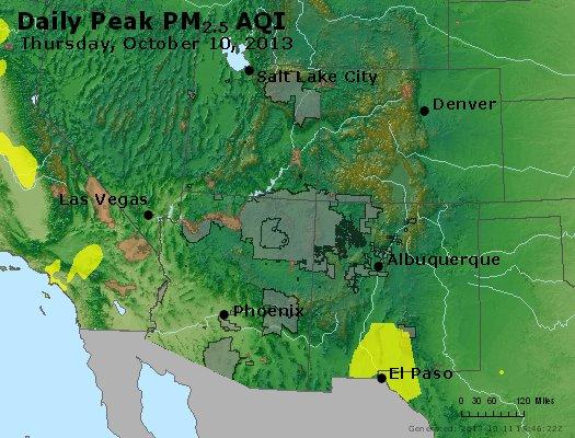 Peak Particles PM<sub>2.5</sub> (24-hour) - http://files.airnowtech.org/airnow/2013/20131010/peak_pm25_co_ut_az_nm.jpg