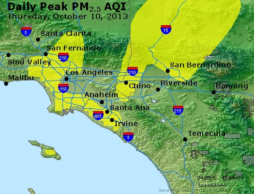 Peak Particles PM<sub>2.5</sub> (24-hour) - http://files.airnowtech.org/airnow/2013/20131010/peak_pm25_losangeles_ca.jpg