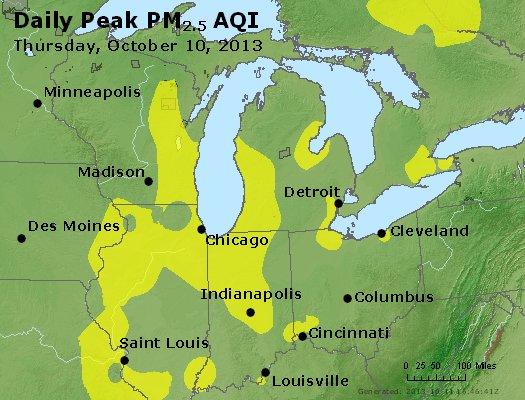 Peak Particles PM<sub>2.5</sub> (24-hour) - http://files.airnowtech.org/airnow/2013/20131010/peak_pm25_mi_in_oh.jpg