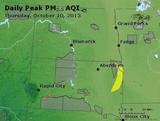 Peak Particles PM<sub>2.5</sub> (24-hour) - http://files.airnowtech.org/airnow/2013/20131010/peak_pm25_nd_sd.jpg