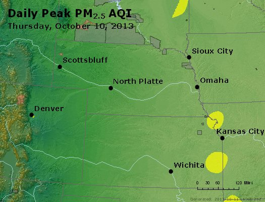 Peak Particles PM<sub>2.5</sub> (24-hour) - http://files.airnowtech.org/airnow/2013/20131010/peak_pm25_ne_ks.jpg