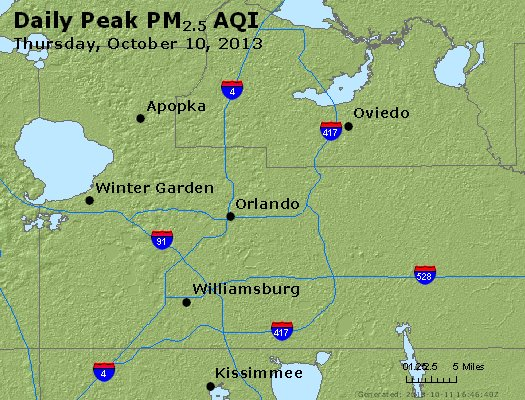 Peak Particles PM<sub>2.5</sub> (24-hour) - http://files.airnowtech.org/airnow/2013/20131010/peak_pm25_orlando_fl.jpg