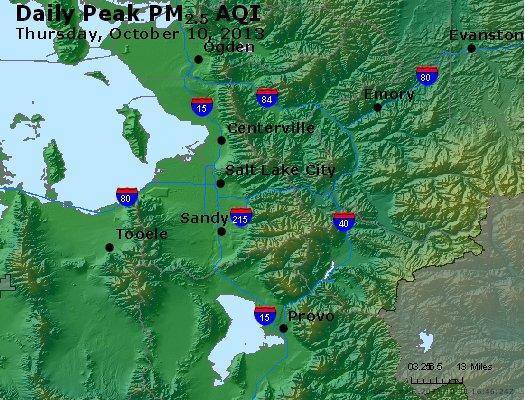 Peak Particles PM<sub>2.5</sub> (24-hour) - http://files.airnowtech.org/airnow/2013/20131010/peak_pm25_saltlakecity_ut.jpg