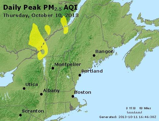 Peak Particles PM<sub>2.5</sub> (24-hour) - http://files.airnowtech.org/airnow/2013/20131010/peak_pm25_vt_nh_ma_ct_ri_me.jpg