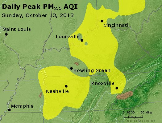 Peak Particles PM<sub>2.5</sub> (24-hour) - http://files.airnowtech.org/airnow/2013/20131013/peak_pm25_ky_tn.jpg