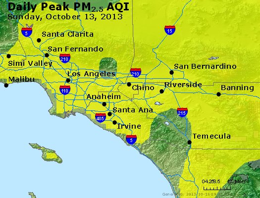 Peak Particles PM<sub>2.5</sub> (24-hour) - http://files.airnowtech.org/airnow/2013/20131013/peak_pm25_losangeles_ca.jpg