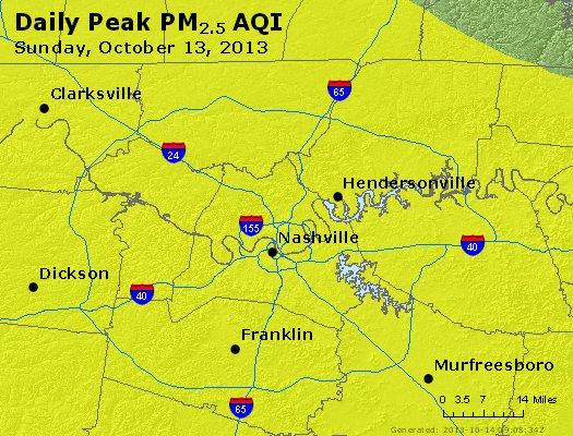 Peak Particles PM<sub>2.5</sub> (24-hour) - http://files.airnowtech.org/airnow/2013/20131013/peak_pm25_nashville_tn.jpg