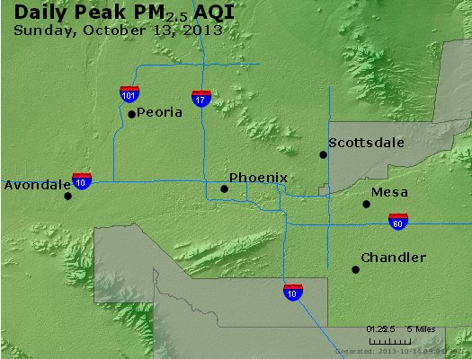 Peak Particles PM<sub>2.5</sub> (24-hour) - http://files.airnowtech.org/airnow/2013/20131013/peak_pm25_phoenix_az.jpg