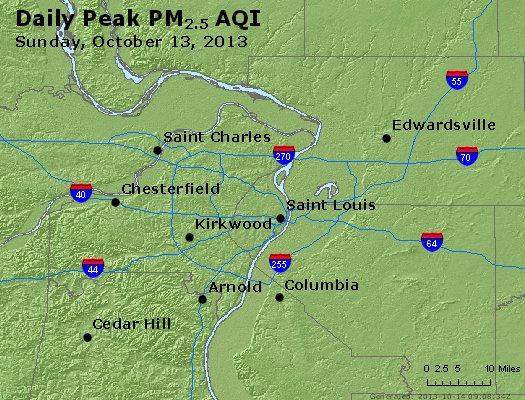 Peak Particles PM<sub>2.5</sub> (24-hour) - http://files.airnowtech.org/airnow/2013/20131013/peak_pm25_stlouis_mo.jpg