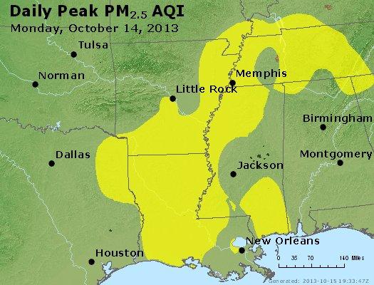 Peak Particles PM<sub>2.5</sub> (24-hour) - http://files.airnowtech.org/airnow/2013/20131014/peak_pm25_ar_la_ms.jpg