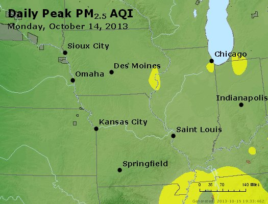 Peak Particles PM<sub>2.5</sub> (24-hour) - http://files.airnowtech.org/airnow/2013/20131014/peak_pm25_ia_il_mo.jpg