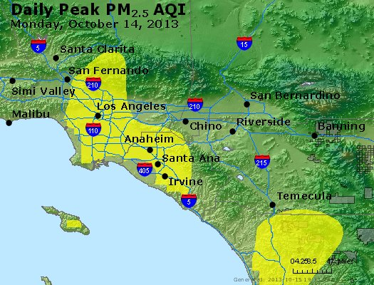 Peak Particles PM<sub>2.5</sub> (24-hour) - http://files.airnowtech.org/airnow/2013/20131014/peak_pm25_losangeles_ca.jpg