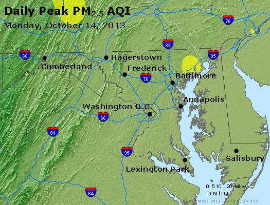 Peak Particles PM<sub>2.5</sub> (24-hour) - http://files.airnowtech.org/airnow/2013/20131014/peak_pm25_maryland.jpg