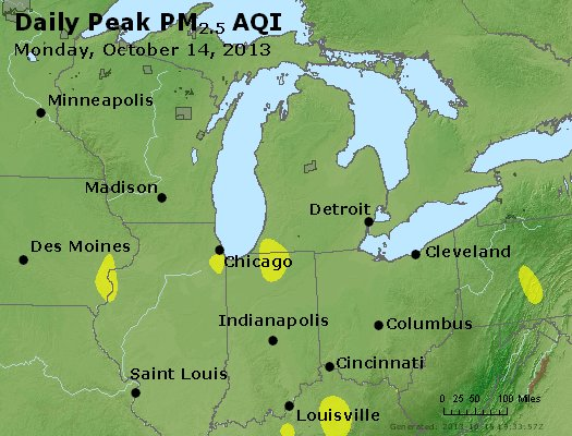 Peak Particles PM<sub>2.5</sub> (24-hour) - http://files.airnowtech.org/airnow/2013/20131014/peak_pm25_mi_in_oh.jpg
