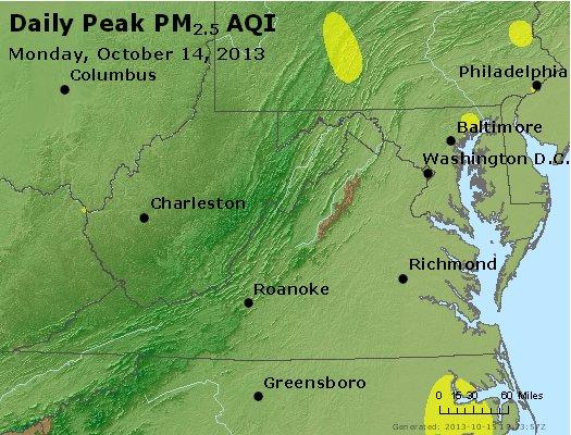 Peak Particles PM<sub>2.5</sub> (24-hour) - http://files.airnowtech.org/airnow/2013/20131014/peak_pm25_va_wv_md_de_dc.jpg