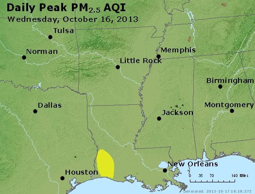 Peak Particles PM<sub>2.5</sub> (24-hour) - http://files.airnowtech.org/airnow/2013/20131016/peak_pm25_ar_la_ms.jpg