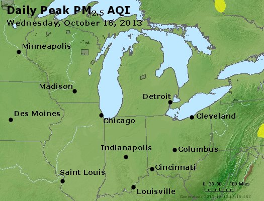 Peak Particles PM<sub>2.5</sub> (24-hour) - http://files.airnowtech.org/airnow/2013/20131016/peak_pm25_mi_in_oh.jpg