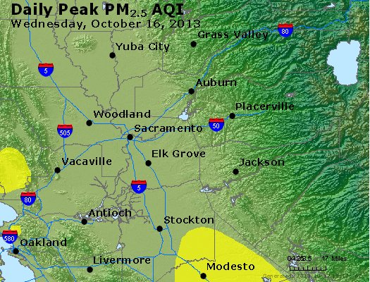Peak Particles PM<sub>2.5</sub> (24-hour) - http://files.airnowtech.org/airnow/2013/20131016/peak_pm25_sacramento_ca.jpg
