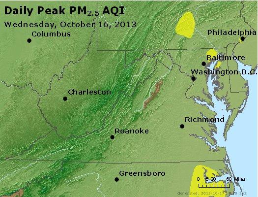 Peak Particles PM<sub>2.5</sub> (24-hour) - http://files.airnowtech.org/airnow/2013/20131016/peak_pm25_va_wv_md_de_dc.jpg