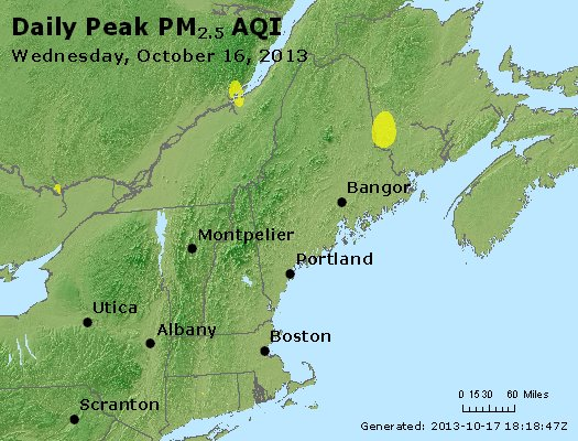 Peak Particles PM<sub>2.5</sub> (24-hour) - http://files.airnowtech.org/airnow/2013/20131016/peak_pm25_vt_nh_ma_ct_ri_me.jpg