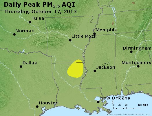 Peak Particles PM<sub>2.5</sub> (24-hour) - http://files.airnowtech.org/airnow/2013/20131017/peak_pm25_ar_la_ms.jpg